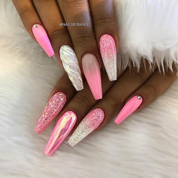 Pink Unicorn Nail Design