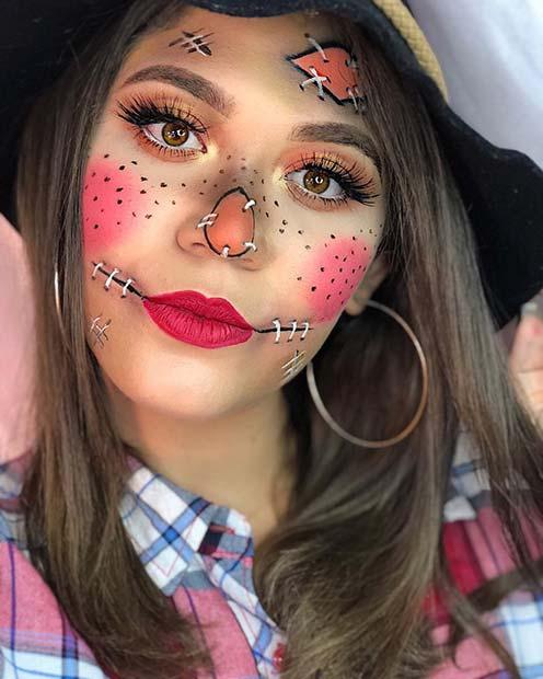 Easy Scarecrow Makeup Idea