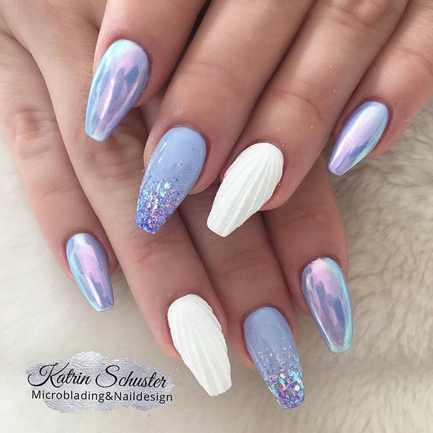 Pretty Light Blue Nail Design