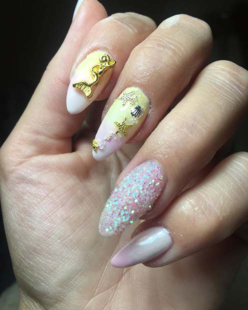 Pretty Nails with a Gold Mermaid