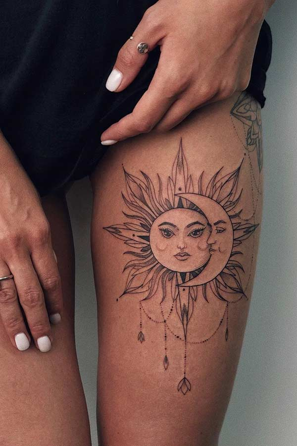 Pretty Sun and Moon Thigh Tattoo