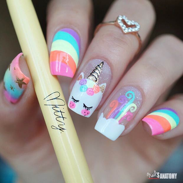 Rainbow Unicorn Nails
