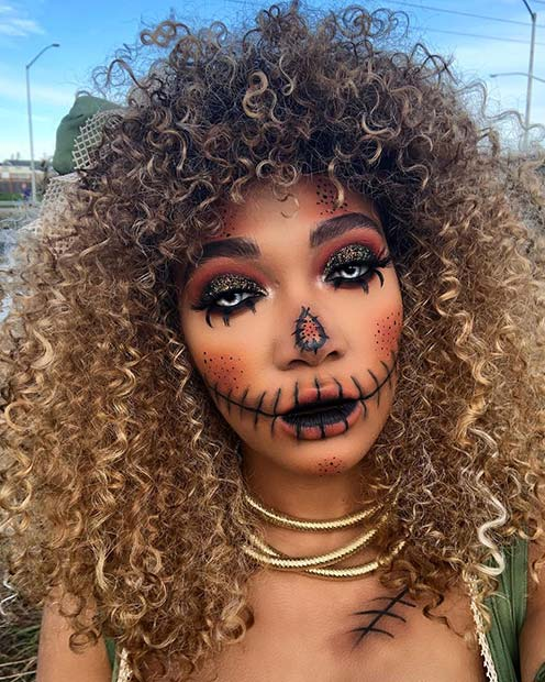 Scarecrow Makeup Look with Creepy Contact Lenses