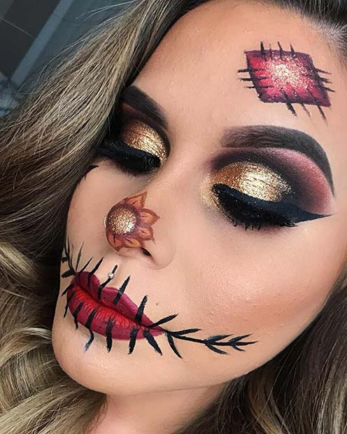 Simple Scarecrow Makeup with Glam Eyes