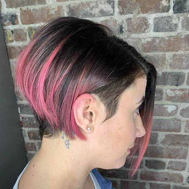 Short Bob with Pink Highlights