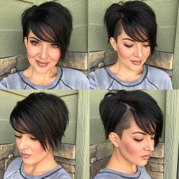 Short Haircut with an Undercut and Bangs