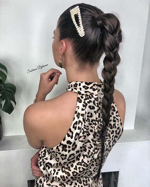 Single Braid with a Trendy Hair Clip