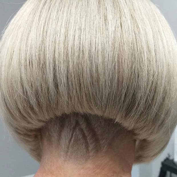 Blonde Bob with Patterned Undercut