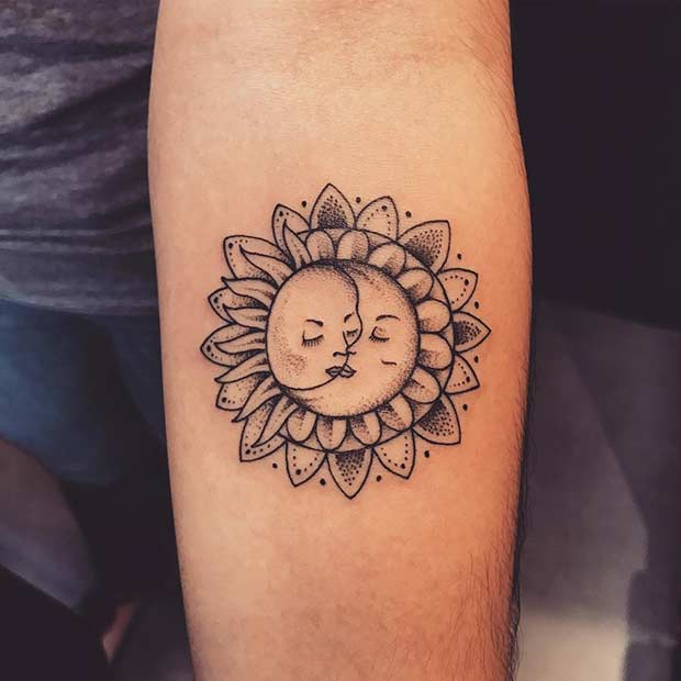 Small Sun and Moon Tattoo