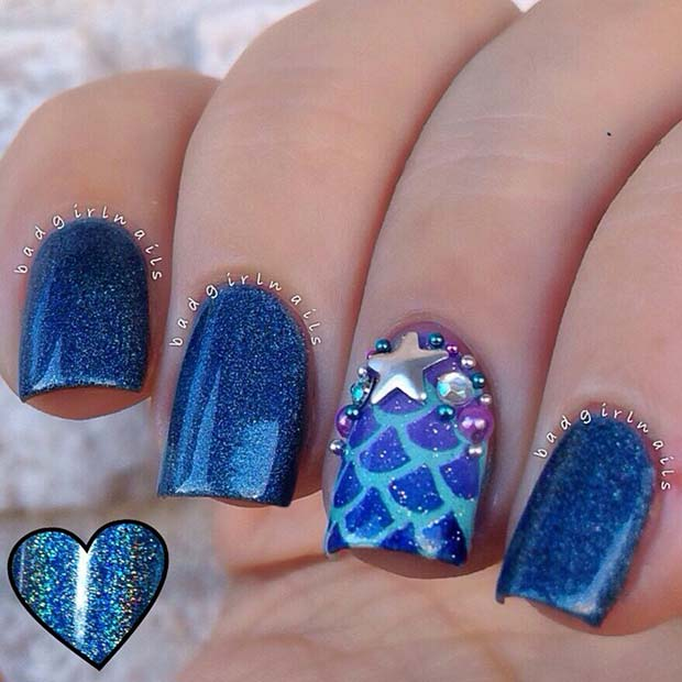 Sparkly Blue Nails with Mermaid Accent Nail