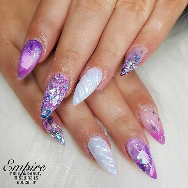 Sparkly Purple Nails with a Unicorn Horn