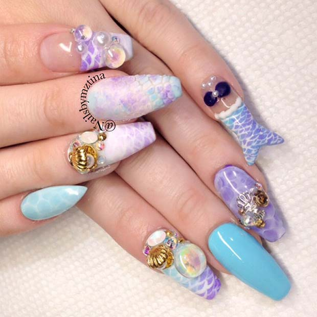 Stylish Nails with a Mermaid Tail Design