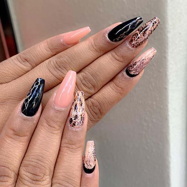 Stylish Snake Print Nails