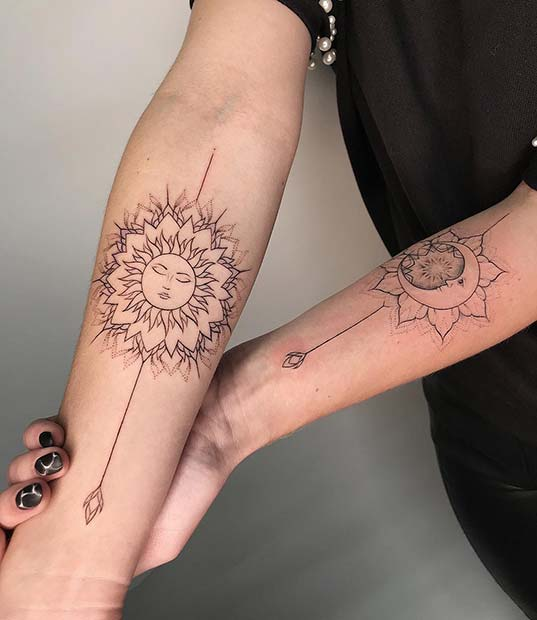 Sun and Moon Arm Tattoos