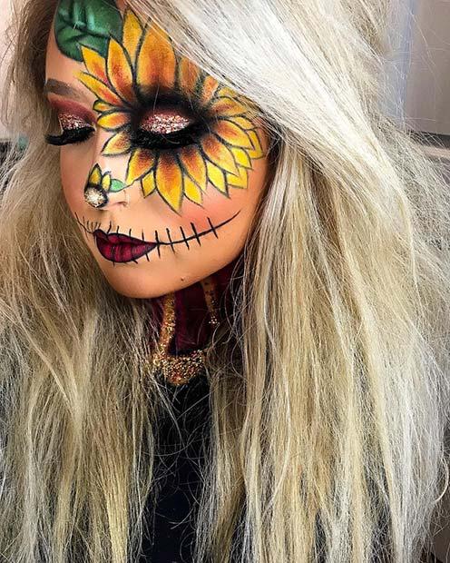Halloween Sunflower Makeup with Glitter