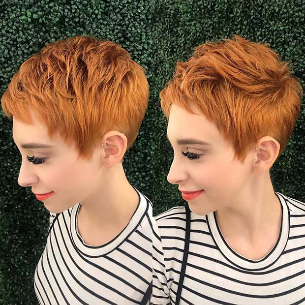 Trendy Copper Pixie Haircut