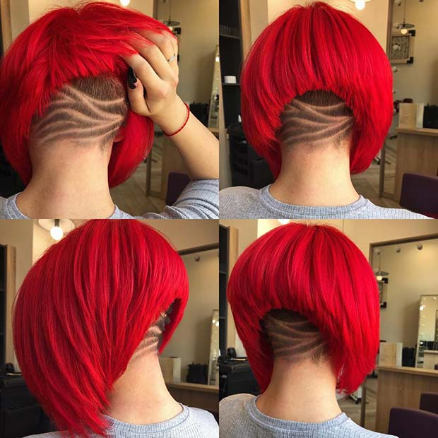 Trendy Undercut with a Vibrant Red Hair