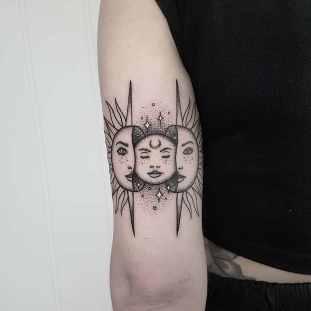 Unique Moon Inside The Sun Tattoo Design
