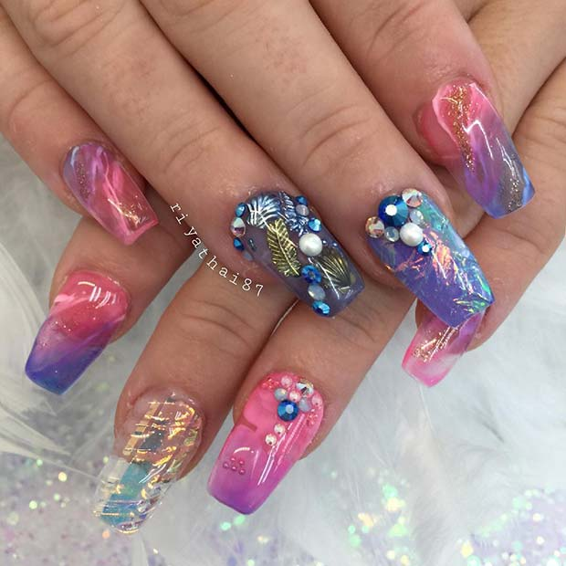 Vibrant Nails with Crystals and Shells