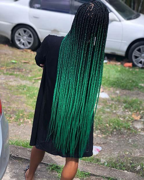 Vibrant Ombre Green Braids