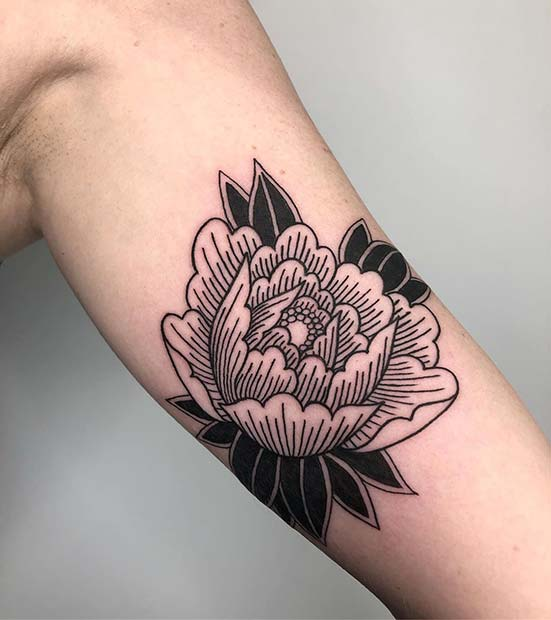 Artistic Black Ink Peony Design
