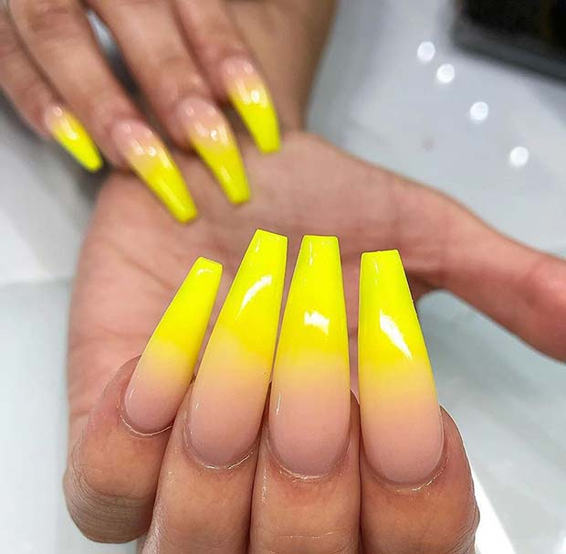 Nude to Yellow Ombre Nails