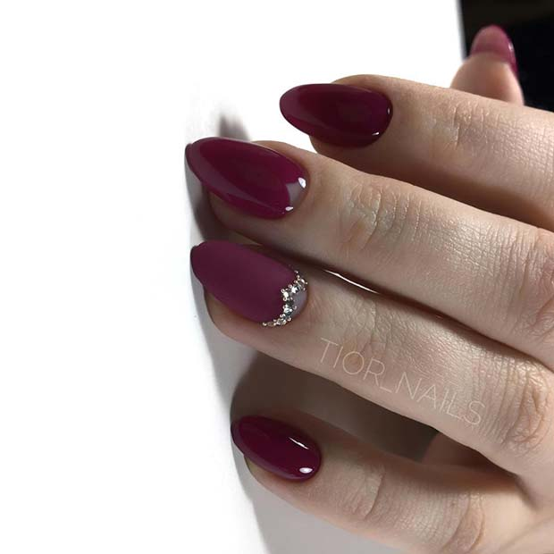 Burgundy Nails with Gems