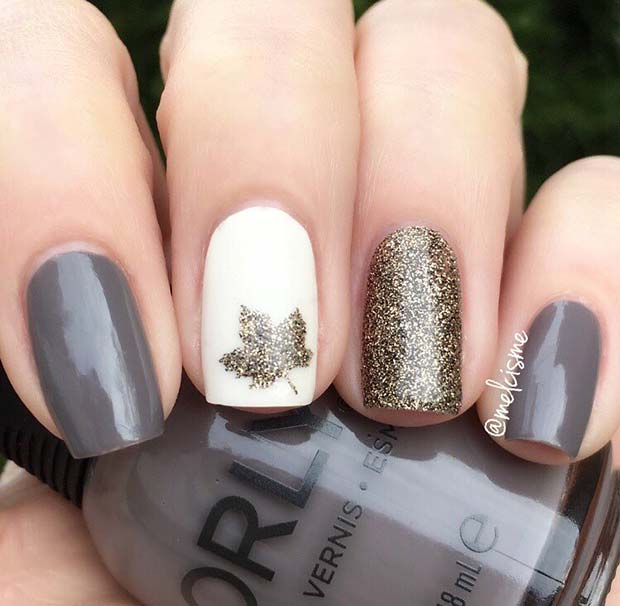 Chic Grey and Glitter Nails with a Sparkly Leaf