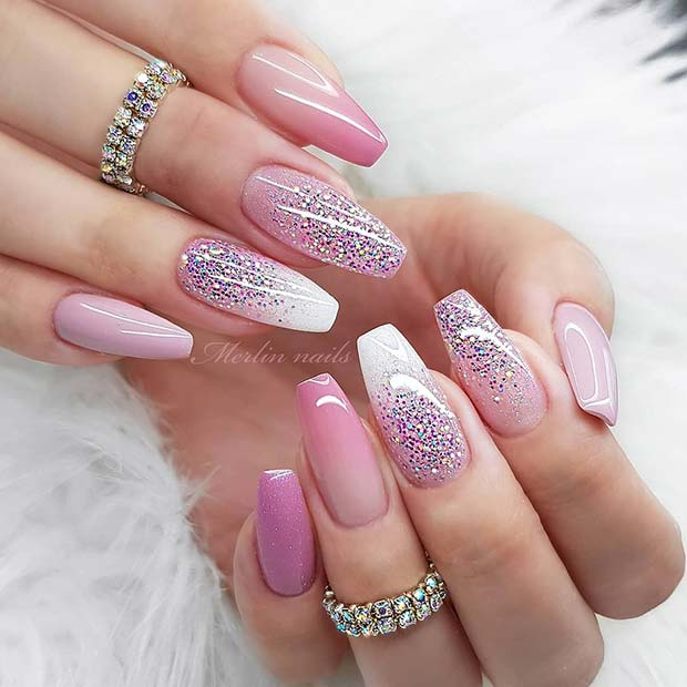 Chic and Sparkly Ombre Nails