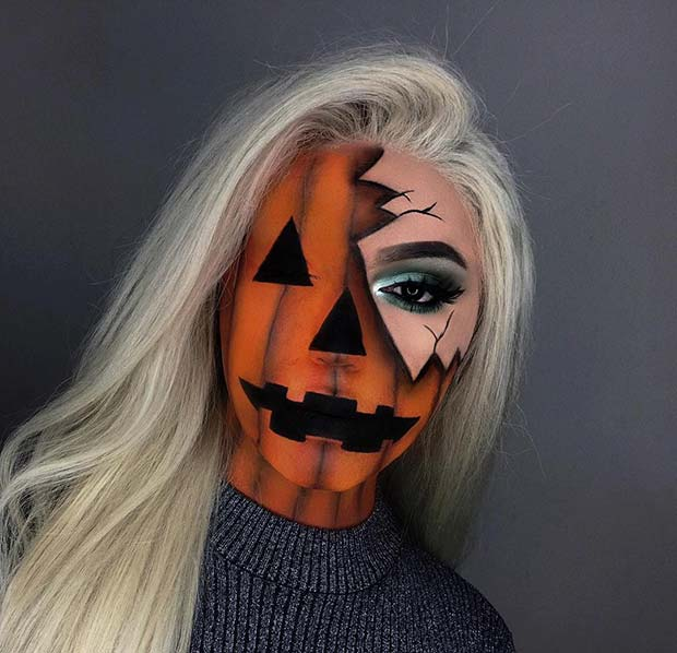 Classic Halloween Pumpkin Makeup