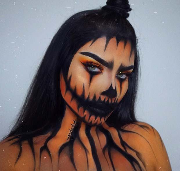 Cool Halloween Pumpkin Makeup