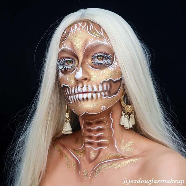 White and Gold Skeleton Makeup