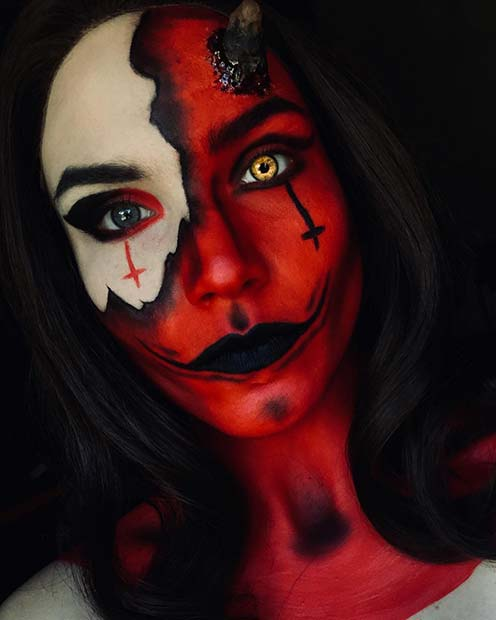 Creepy Devil Makeup with Crosses