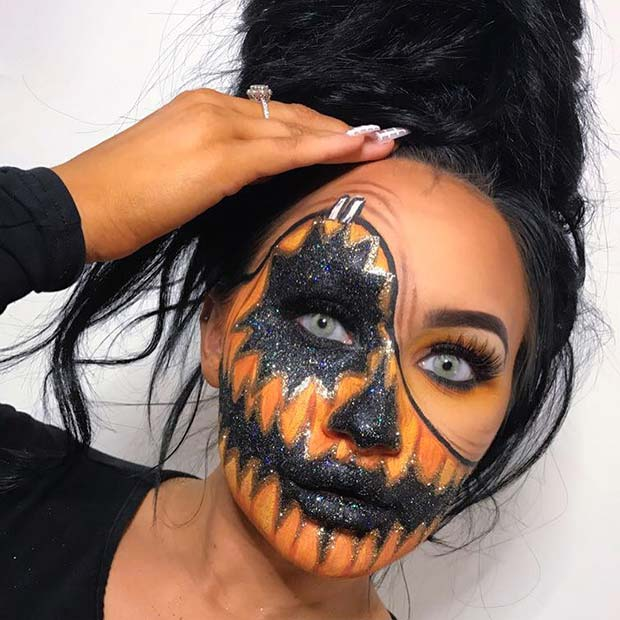 Creepy Pumpkin Illusion Makeup