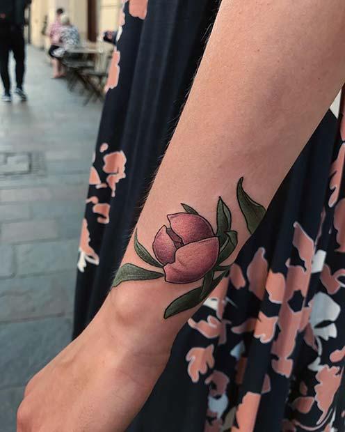 Cute Closed Peony Tattoo
