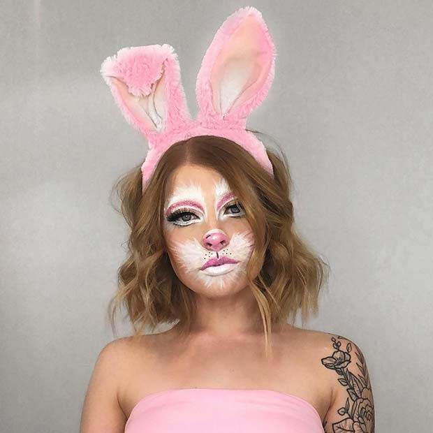 Cute Pink and White Bunny