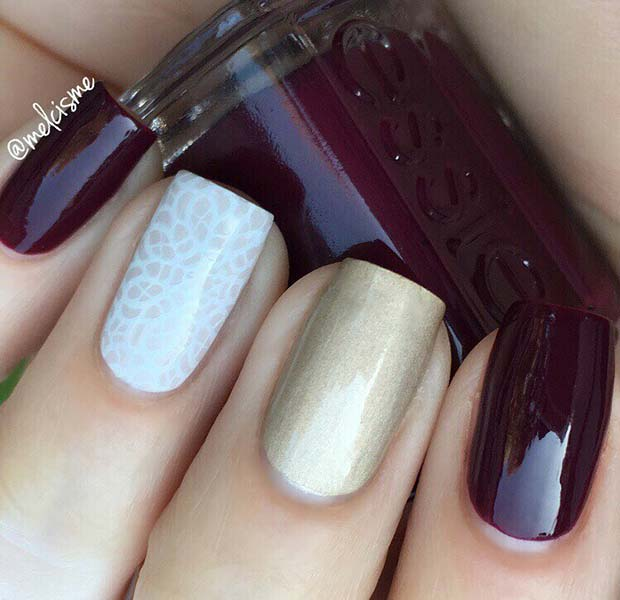 Burgundy and Gold Fall Nails
