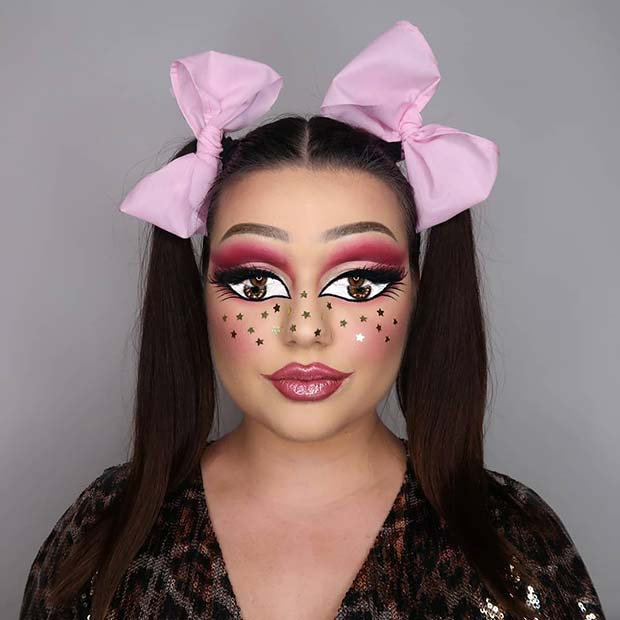 Doll Makeup with Pretty Bows