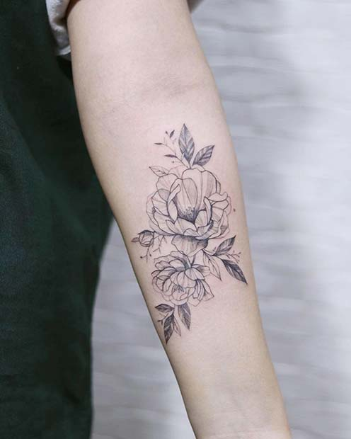 Elegant Black Ink Peony Design