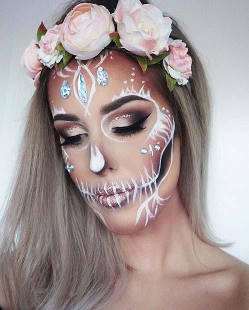 Elegant White Skeleton Makeup