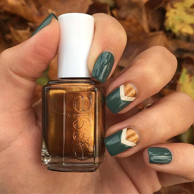 Fall Inspired Chevron Nail Art