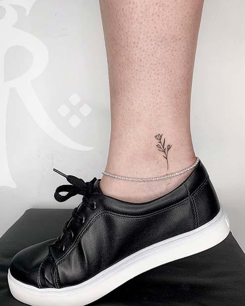 Floral Ankle Tattoo Idea