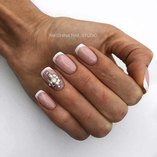 French Manicure with a Diamond Accent Nail