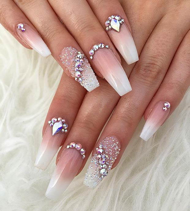 French Ombre Nails with Diamonds