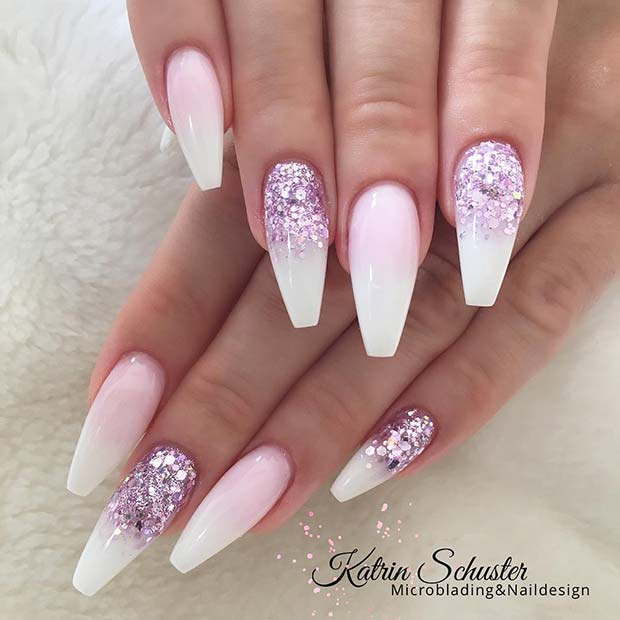 French Ombre with Purple Glitter