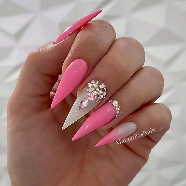 Glam Pink Stiletto Nail Idea