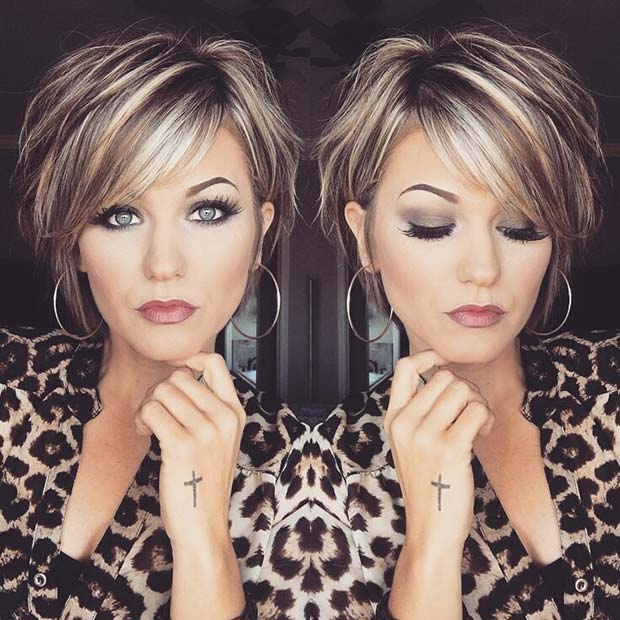 Glam Short Hairstyle with Blonde Highlights