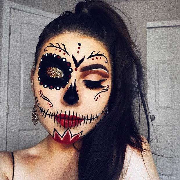 Glam Sugar Skull Makeup Idea