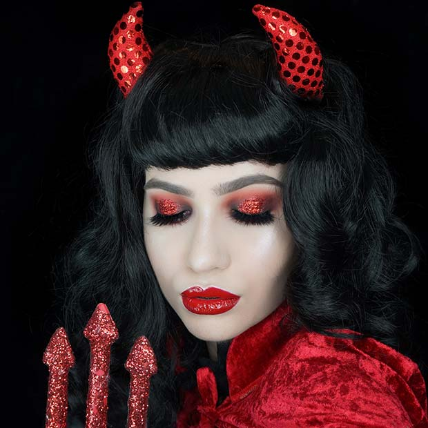 Glam and Easy To Wear Devil Makeup