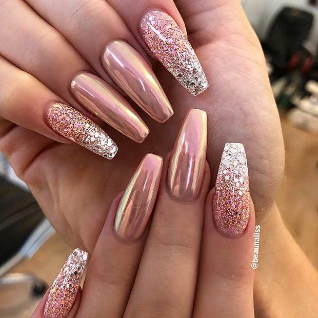 Glitter and Chrome Nail Design